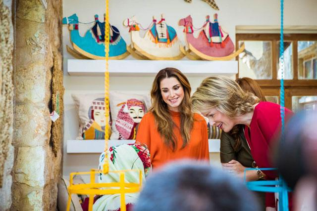 promo code bf397 8d865 Queen Rania joins Belgian queen on tour of Jordan River Foundation showroom