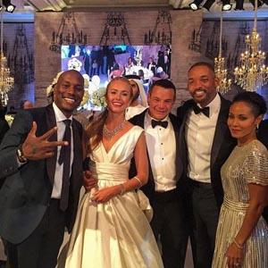 A Photo Tyrese Gibson Shared On His Facebook Page Friday Shows Him Will Smith And Jada Pinkett With Eyhab Jumean Wife At Their Wedding In
