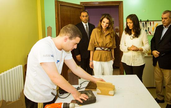 Queen Rania meets young people with disabilities, learning