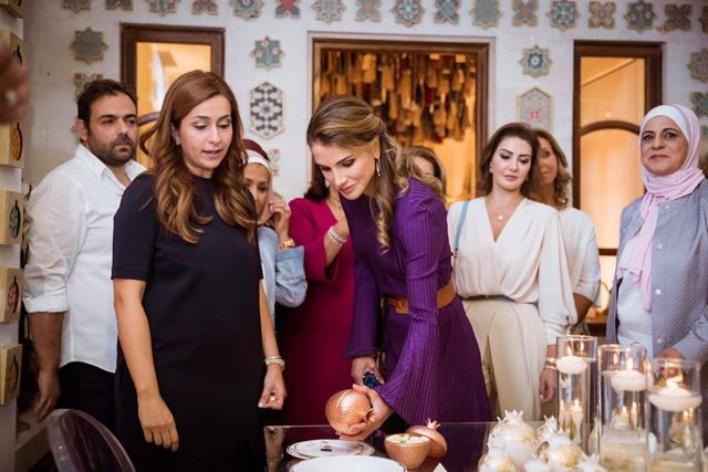 HM Queen Rania inaugurates Jordanian Handicrafts exhibit